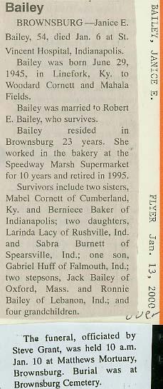 Janice E. <i>Cornett</i> Bailey