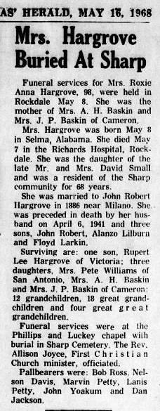Roxie Anna <i>Small</i> Hargrove