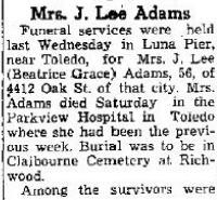Beatrice Grace <i>Mosier</i> Adams