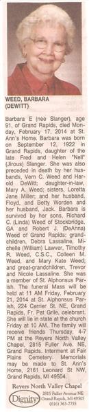 Barbara E Dewitt <i>Slanger</i> Weed