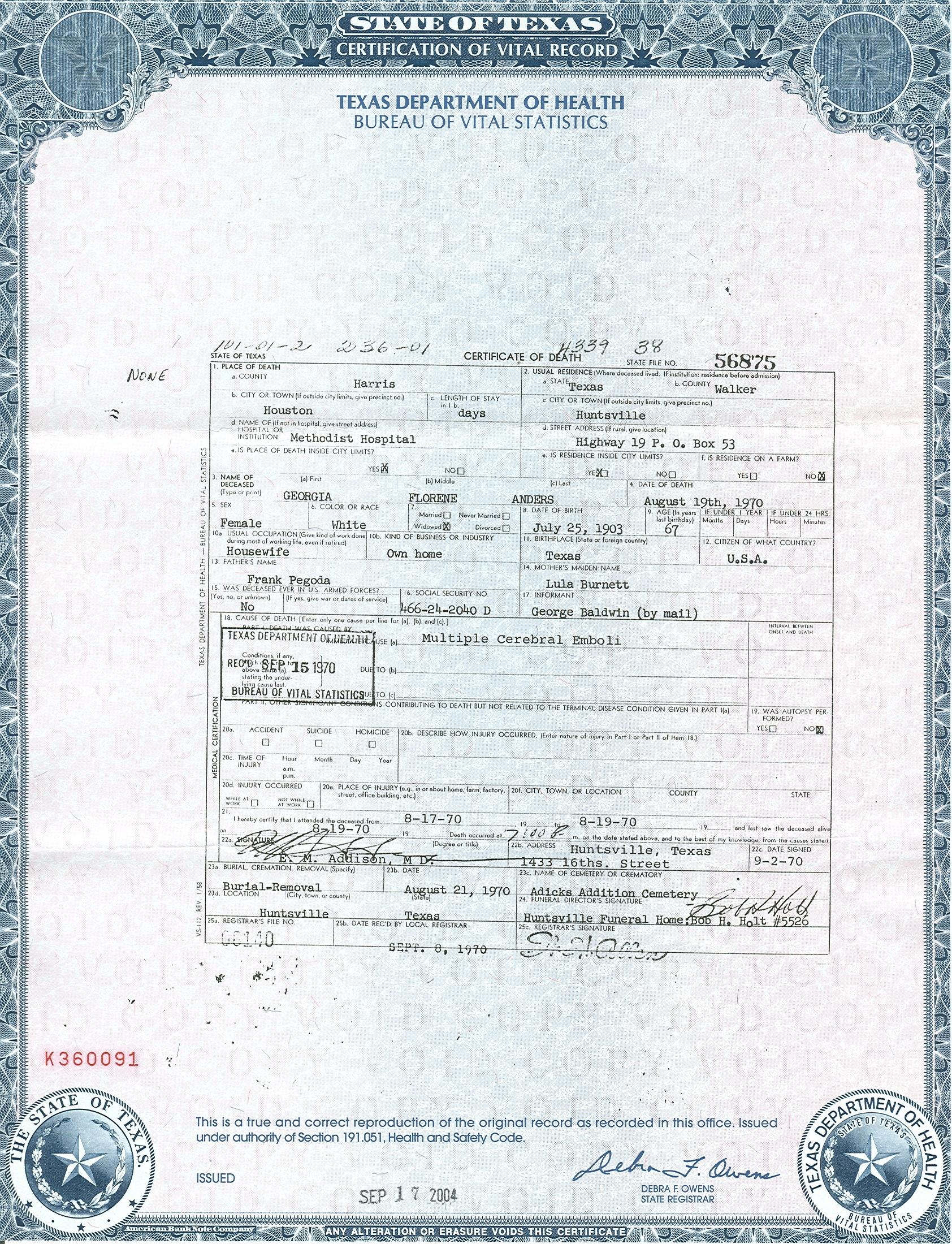Texas Tarrant County Marriage License