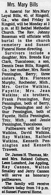 Mary Loyal <i>Pennington</i> Bills
