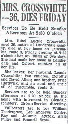 Ethel Lucille <i>Hardwick</i> Crosswhite