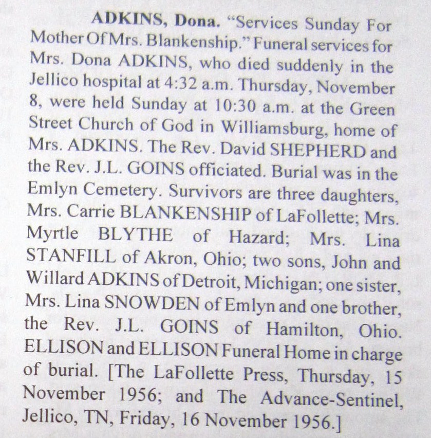 Dona <i>Goins</i> Adkins