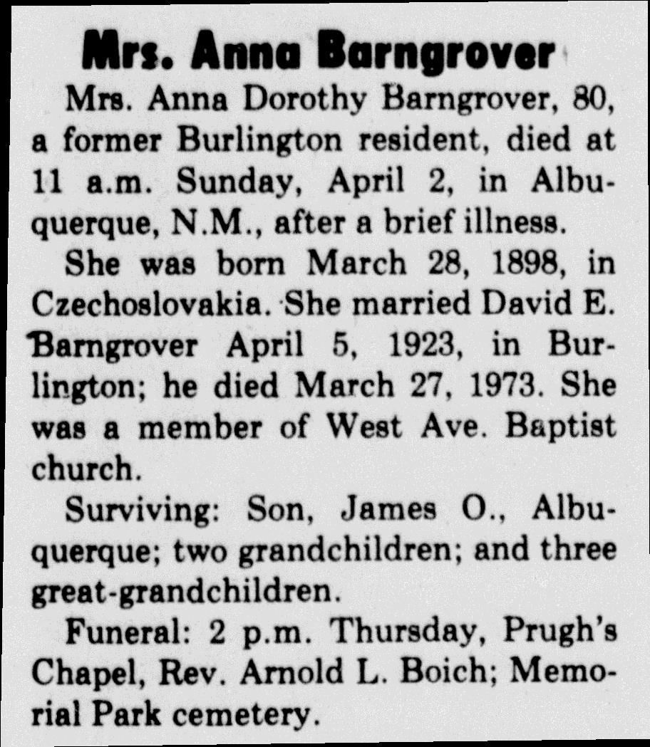 Anna Dorothy <i>Hlavachek</i> Barngrover