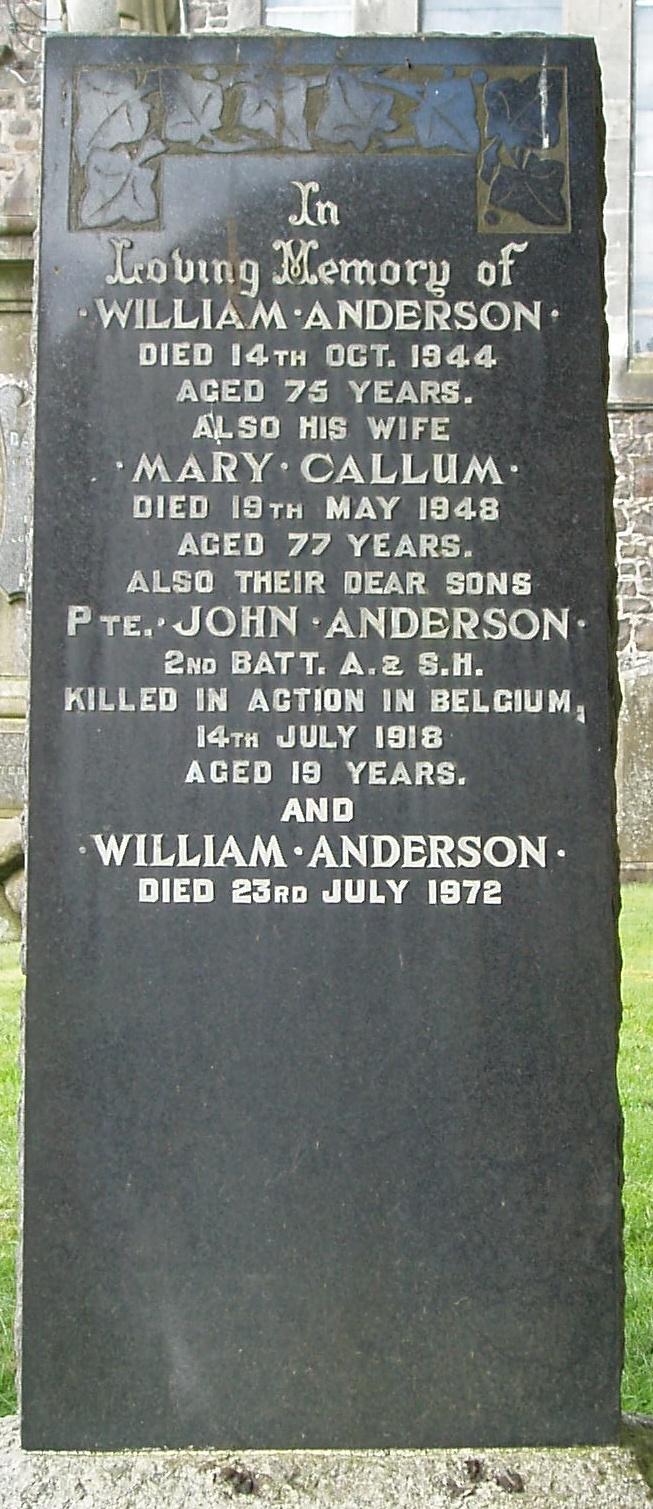 Mary <i>Callum</i> Anderson
