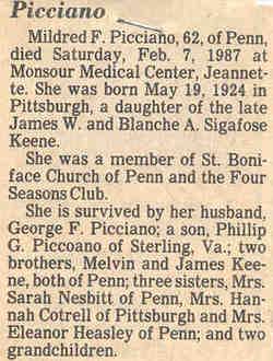 Mildred Frances <i>Keene</i> Picciano