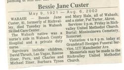 Bessie Jane Custer