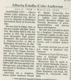 Alberta E <i>Cole</i> Anderson