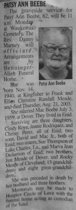 Patsy Ann <i>Meade</i> Beebe