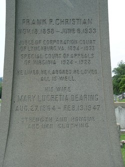 Mary Lucretia <i>Dearing</i> Christian