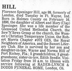 Florence M. <i>Spesinger</i> Hill