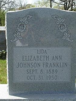 Elizabeth Ann Lida <i>Johnson</i> Franklin