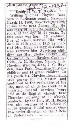 Rev William Thomas Hayden