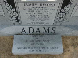 Infant Son of QL and Nancy Adams