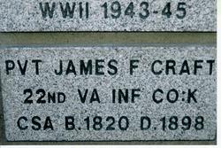 Pvt James Frederick Craft