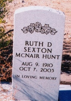Ruth Dell (McNair) <i>Sexton</i> Hunt