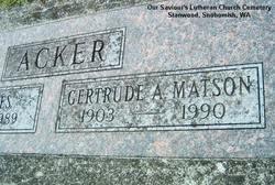 Gertrude A <i>Matson</i> Acker