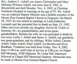Rev Andrew Leslie Asbell