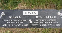 Henrietta F. <i>Peterson</i> Irvin