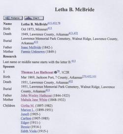 Letha B. <i>McBride</i> Hathcoat