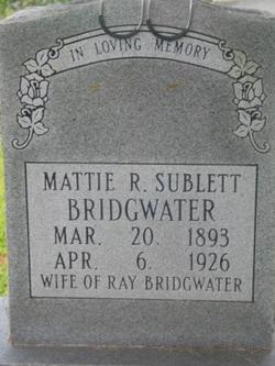 Mattie Ruby <i>Sublett</i> Bridgewater