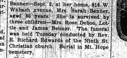 Sarah <i>Bolen</i> Benner