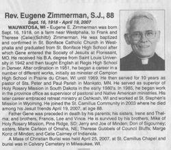 Rev Eugene E. Zimmerman