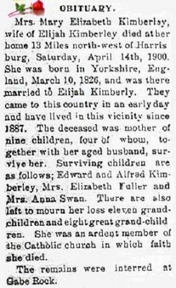 Mary Elizabeth <i>Edmonds</i> Kimberley