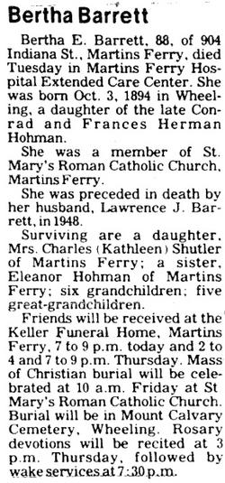 Bertha E <i>Hohman</i> Barrett
