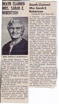 Sarah Elizabeth <i>Hysell</i> Robertson