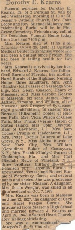 Dorothy E. Dottie <i>Burnie</i> Kearns