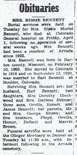 Rissie Muriel <i>Brown</i> Bennett