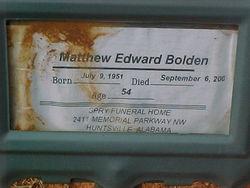 Matthew Edward Bolden