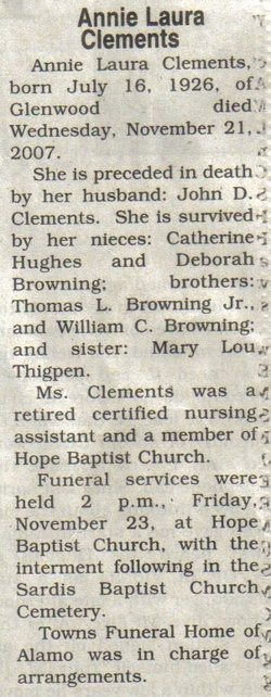 Annie Laura <i>Browning</i> Clements