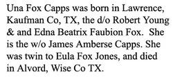 Una Faubion Lillie <i>Fox</i> Capps