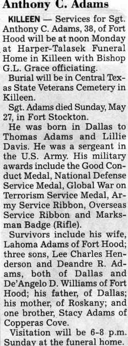 Sgt Anthony C. Adams