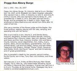 Peggy Ann <i>Courts</i> Abney/Burge