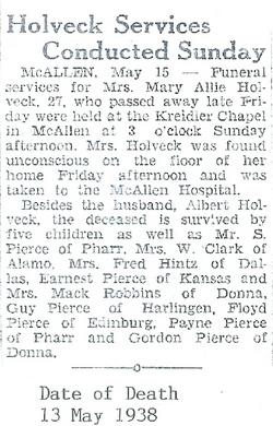 Mary Allie <i>Pierce</i> Holveck