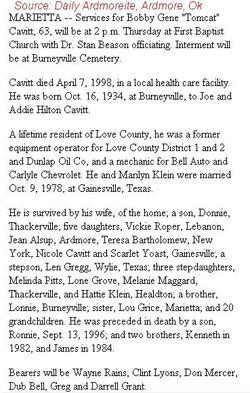 Bobby Gene Tomcat Cavitt