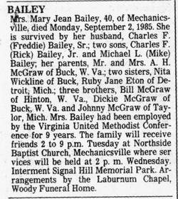 Mary Jean <i>McGraw</i> Bailey