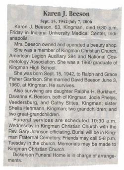 Karen J. <i>Garrison</i> Beeson