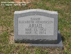 Elizabeth Lizzie <i>Henderson</i> Ariail