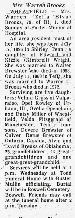 Zella Elva <i>Wright Brewster</i> Brooks