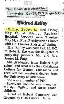 Mildred Alice <i>Pate</i> Bailey