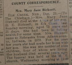 Mary Jane <i>Cawood</i> Bicknell