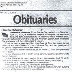 Clarence E Ridenour