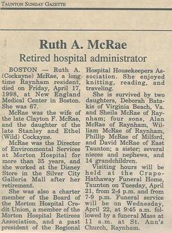 Ruth Agnes <i>Cockayne</i> McRae