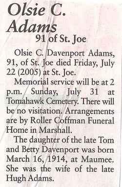 Olsie C. <i>Davenport</i> Adams
