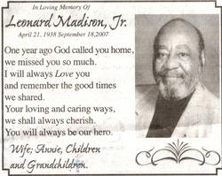 Leonard Len Madison, Jr